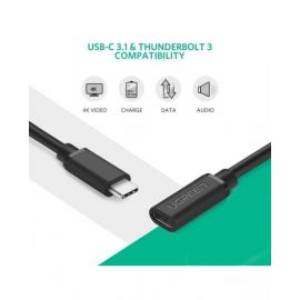 Ugreen Usb Type C Male To Female Extension Cable 0.5M Black 40574 6957303845743