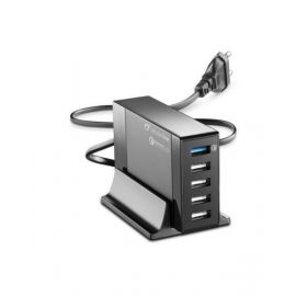 Cellularline 5 Port USB Energy Station QC With Stand, Black - ACHUSB5QUAL9AK