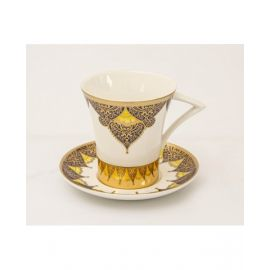 BLUMENTURKISH COFFEE CUP & SAUCER SET  12 PCS -SHINY GOLD -BCS12023