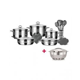 Blumen Stainless Steel Classic Pro Cookware Set 20 Pcs BLSCW485120P and Blumen Hot Pot Diamond 7.5L BHPD75 BUNBLSCW485120P