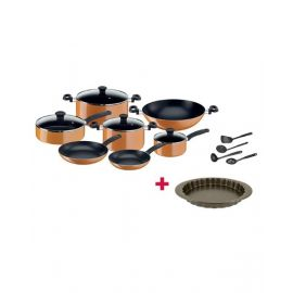 Tefal Prima Non Stick 15 Piece Cookware Set - B168A574 and Tefal Bakeware Tart  Easy Grip 27Cm TFJ1628344 BUNTFB168A574