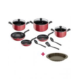 Tefal Cwr Set Super Cook Red 12 Pcs TFB243SC8 and Tefal Bakeware Tart  Easy Grip 27Cm TFJ1628344 BUNTFB243SC8