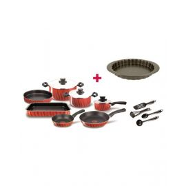 Tefal Tempo Flame 14 Piece Cookware Set - C5489382 and Tefal Bakeware Tart  Easy Grip 27Cm TFJ1628344 BUNTFC5489382
