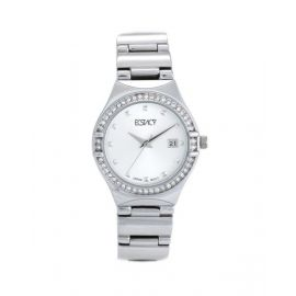 Ecstacy Womens Analog CHROME Case Silver Stainless Steel Strap Silver Dial E6512-OBSS