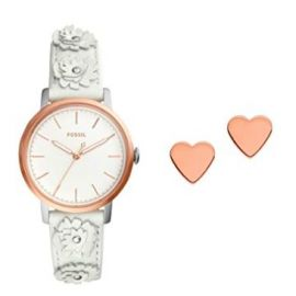 Fossil Womens Analogue Quartz Watch with Leather Strap ES4383SET