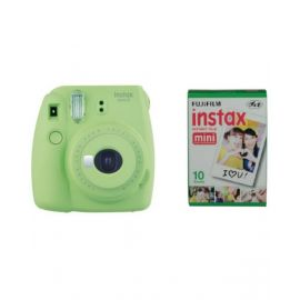 Fujifilm Instax mini 9 Instant Film Camera, Lime Green With 1 Pack of Fujifilm Mini Film 10 Sheets