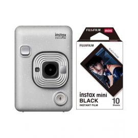 Fujifilm Instax Mini LiPlay Hybrid Instant Camera, Stone white With 10 Sheet Free Films