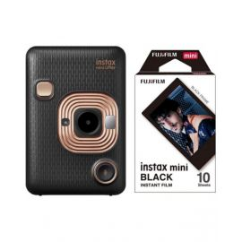 Fujifilm Instax Mini LiPlay Hybrid Instant Camera, Elegant Black With 10 Sheet Free Films