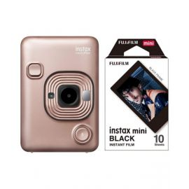 Fujifilm Instax Mini LiPlay Hybrid Instant Camera, Blush Gold With 10 Sheet Free Films
