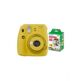 Fujifilm Instax mini 9 Instant Film Camera, Clear Yellow With 10 Sheet Free Films