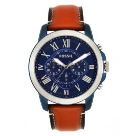 Fossil FS5151 Men's 44mm Grant Quartz Stainless Steel and Leather Watch - Brown