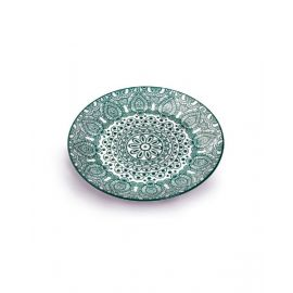Makaan Round Plate Green Arabisc 8 inch MD03063