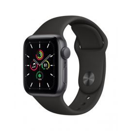 Apple Watch SE GPS, 40mm Space Gray Aluminium Case with Black Sport Band - Regular - MYDP2B