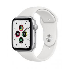 Apple Watch SE GPS, 44mm Silver Aluminium Case with White Sport Band MYDQ2