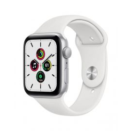 Apple Watch SE GPS, 44mm Silver Aluminium Case with White Sport Band - Regular - MYDQ2B