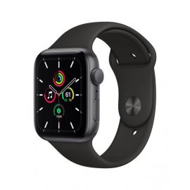Apple Watch SE GPS, 44mm Space Gray Aluminium Case with Black Sport Band - Regular - MYDT2B