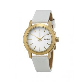 DKNY Tompkins White Pearlized Dial White Leather Ladies Watch NY2194
