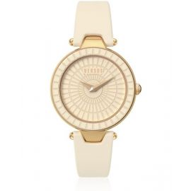 Versus By Versace Ladies Sq1030013 Sertie Gold Ion-Plated Watch With Leather Band